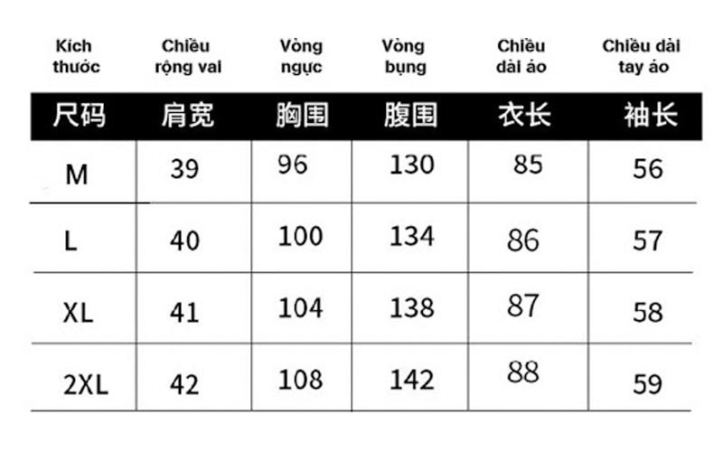 Bảng dịch size áo của Trung Quốc